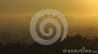 Los Angeles and smog at sunrise