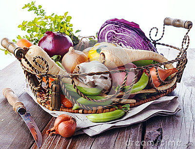 Organic healthy vegetables in the rustic basket