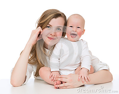 Mother and child baby kid girl smilling laughing