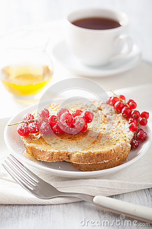 French toast with redcurrant honey for breakfast