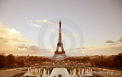 Paris sepia cityscape with Eiffel tower
