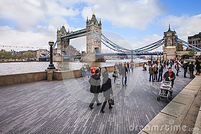 View to Tower Bridge in lazy weekend day in London