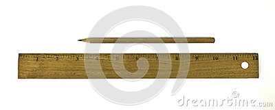 Ruler and pencil isolated