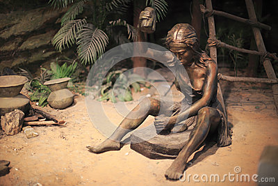 Primitive woman working