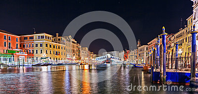 Scenic view of the Rialto Bridge, venice at night