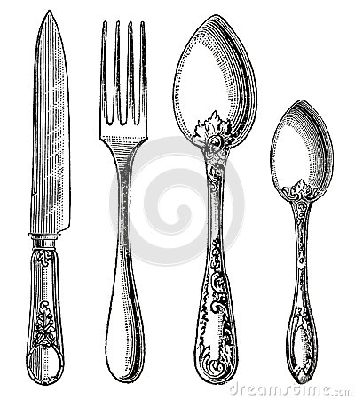 Vintage silverware. Knife, Fork and Spoon