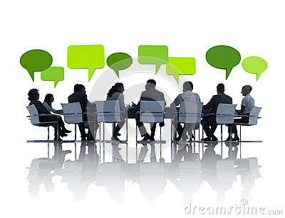 Green Business People Having a Meeting