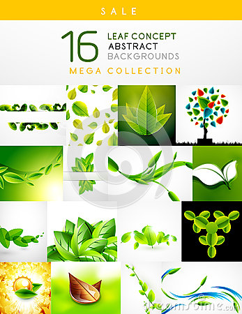 Mega collection of leaf abstract backgrounds