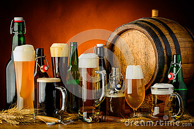 stock image of beer drinks