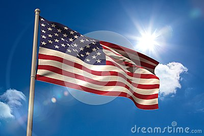 United states of america national flag on flagpole