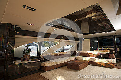 Image Of Luxury Ship Interior Comfortable Sailboat Cabin Expensive Wooden Design And Soft White Sofa Inside On