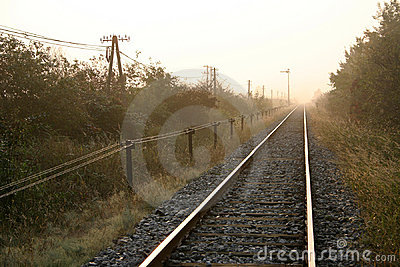 Morning by railroad tracks