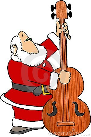 Santa Playing Bass Fiddle