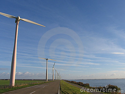 Windmills in Dutch landscape