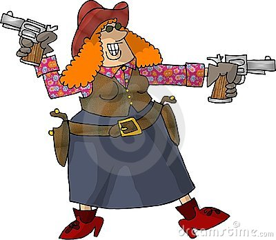 Cowgirl with 2 six shooters