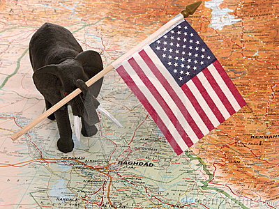 Toy Elephant with US Flag in Iraq
