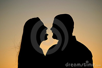 Couple Silhouette Flirt