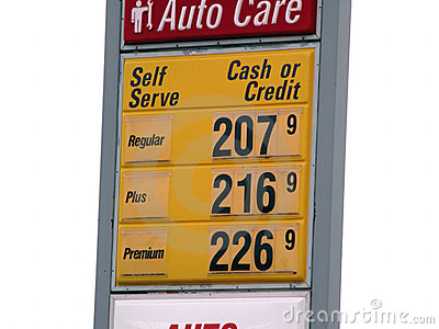 Isolated gas price sign