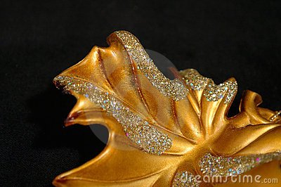 Christmas ornament - Golden Leaf Abstract