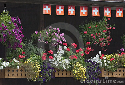Flower boxes on Swiss balcony