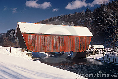 Covered Red Bridge
