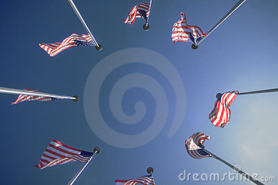 Circle of US Flags