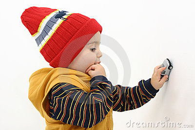 Winter Boy Child Playing with Car