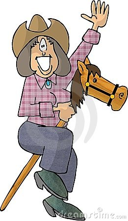 Cowgirl riding a stick pony