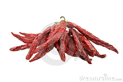 Dried Chili Peppers on White