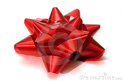 A single red christmas bow