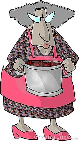 Granny and a pot of berries