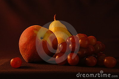 Still life with pear and peach