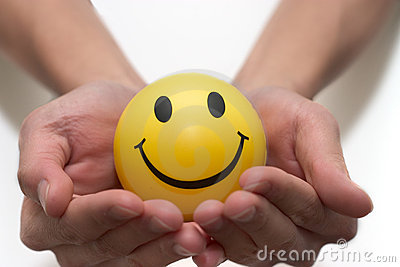 Smiley face in two hands