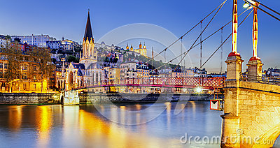 Lyon by nigt with lights