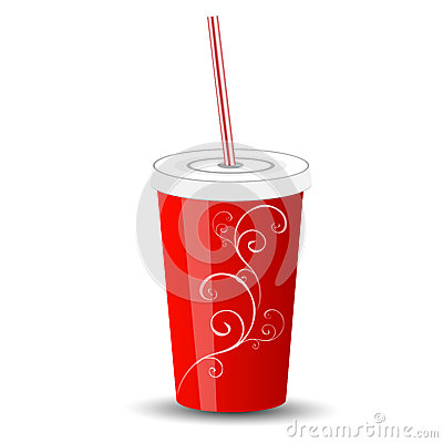Red plastic cup with lid and straw