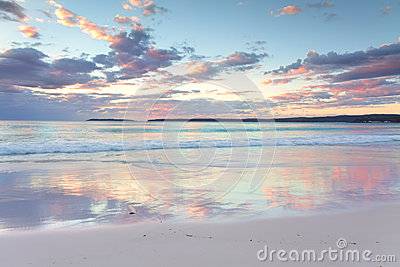 Pretty pastel dawn sunrise at Hyams Beach NSW Australia