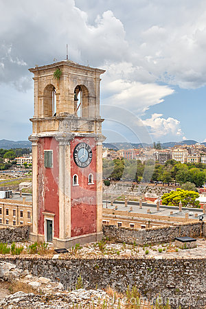 Clock tower at old venetian fortress with old city at background