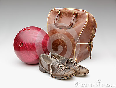 Vintage Red Bowling Ball, Distressed Leather Bag and Brown Shoes