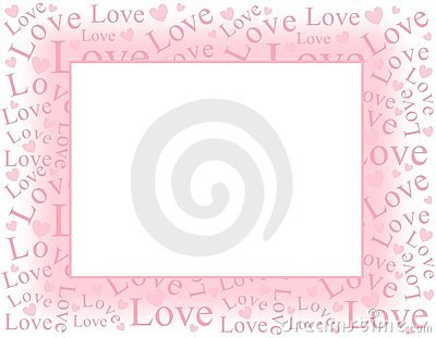 Soft Pink Love and Hearts Frame Border