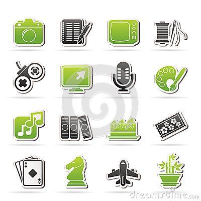 stock image of hobbies and leisure icons