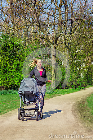 Jogging with a baby buggy