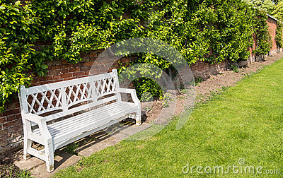 White Bench in an English Walled Garden