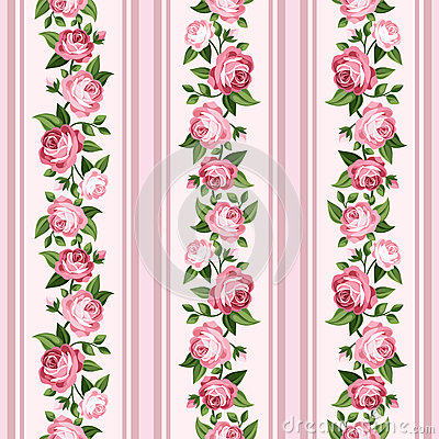 Vintage seamless stripped pattern with pink roses.