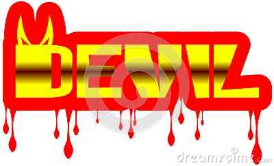 Colorful Word devil with drops isolated