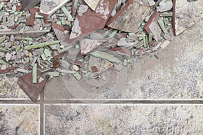 Close up of an old pile of bricks floor tile