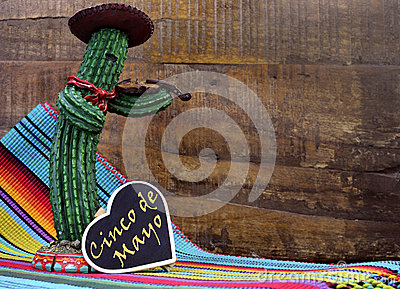 Happy Cinco de Mayo, 5th May, party celebration with with fun Mexican cactus and blackboard sign