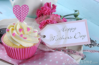 Happy Mothers Day aqua blue vintage retro shabby chic tray with pink cupcake close up