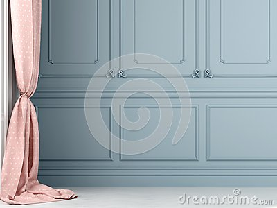 Pink curtains against the background of blue wall