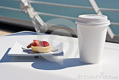 Alaska - Delight With A Strawberry Mini Tart And Hot Drink On The Deck