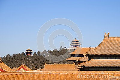 Rooftops Of Buildings Within The Forbidden City With Chinese Pagodas In The Background